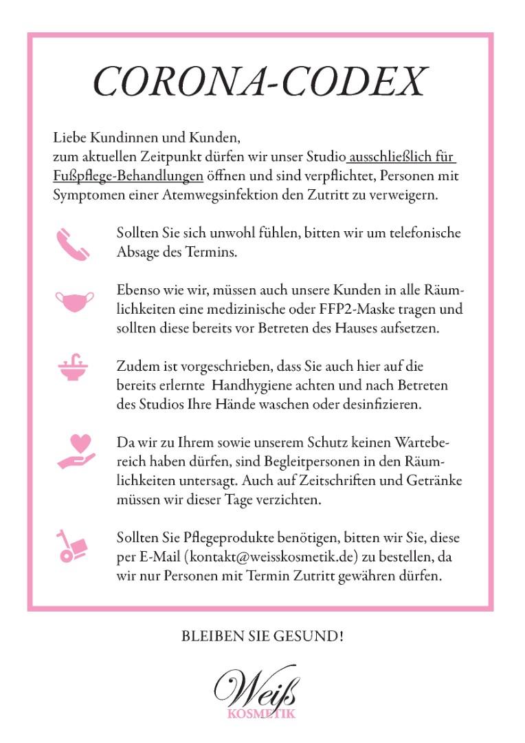 Weiss Kosmetik Corona Info